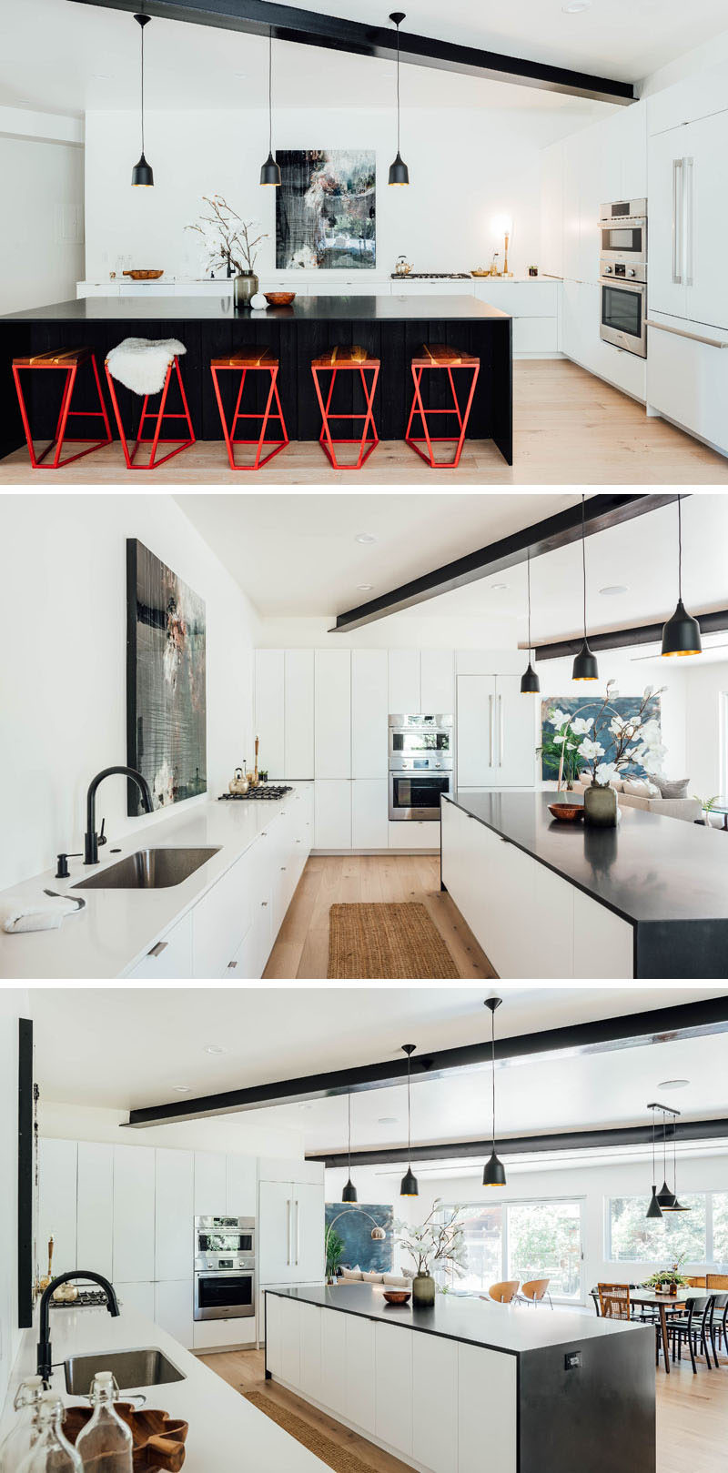 The dark kitchen island contrasts the minimalist white cabinets and complements the exposed steel beams, however from within the kitchen, the island cabinets are actually white to match the other surrounding cabinets. #KitchenDesign #ModernKitchen #WhiteKitchen