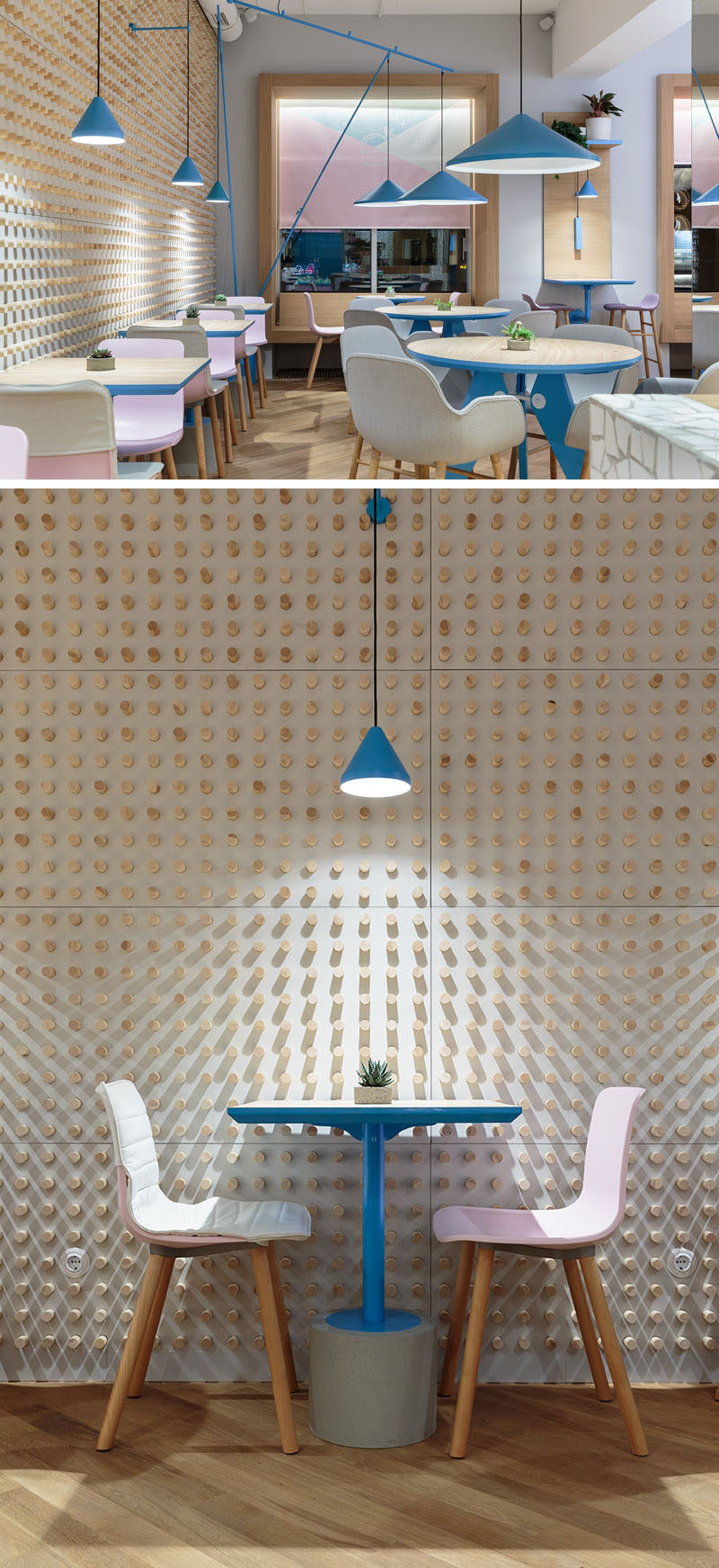 The interior walls of this modern cafe are covered in small dowels, and when combined with lighting, create interesting shadow patterns that highlight the tables. #AccentWall #FeatureWall #CafeDesign #Dowels #InteriorDesign