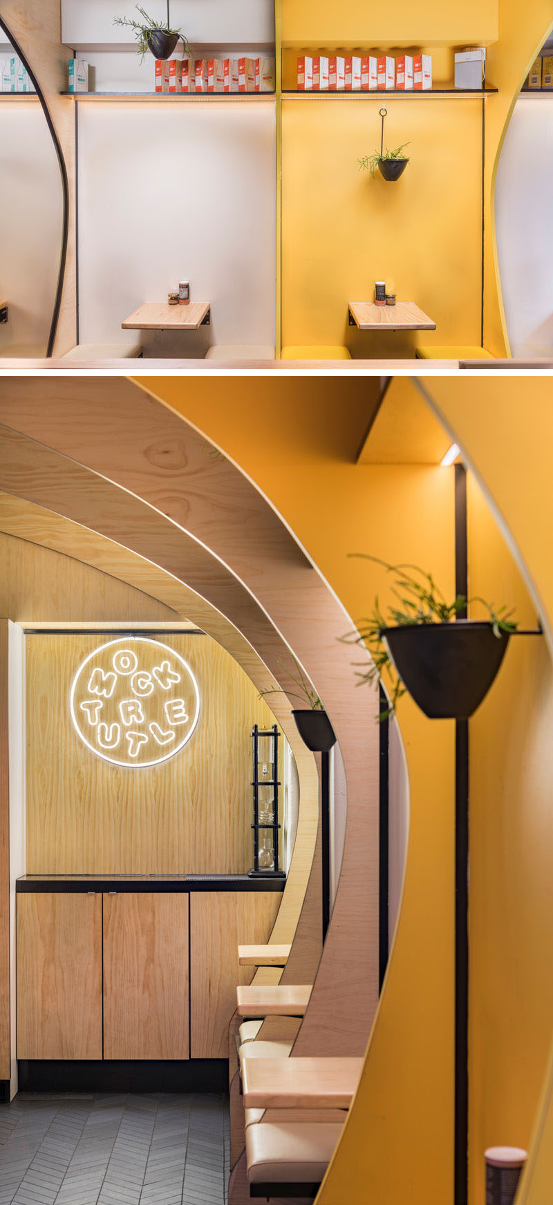 This modern cafe has signature colors of yellow and black that have been combined with wood and white to create a unique and fun interior, that brightens up the small space, and draws people inside. #CafeInterior #CafeDesign #InteriorDesign
