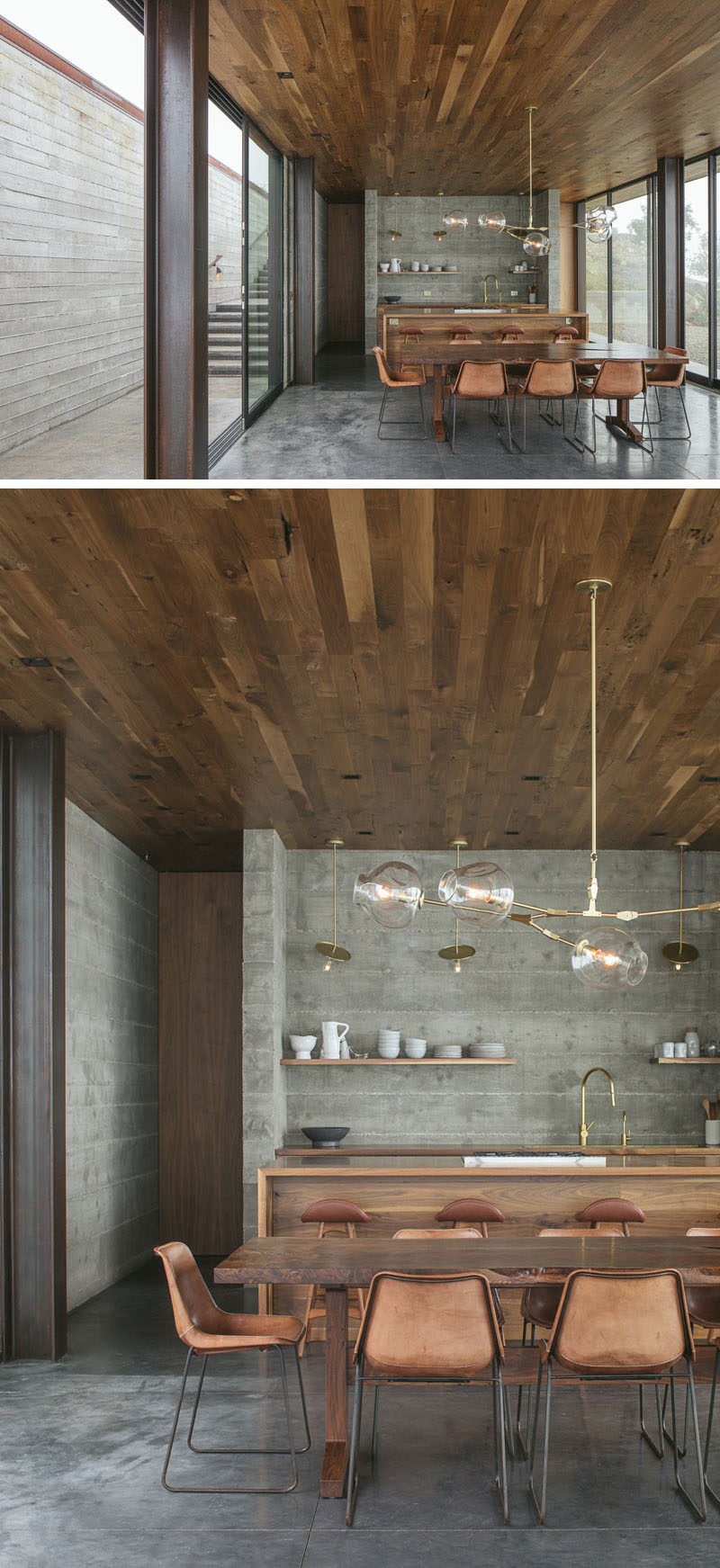 This modern guest house has a wood ceiling, concrete floors with heating, and rich walnut accents. #DiningRoom #Kitchen #Concrete #Walnut #InteriorDesign