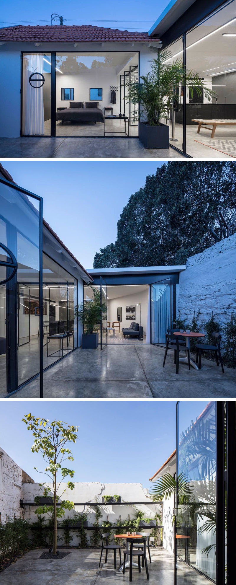 Glass pivoting doors open the modern interior of this small home to a private patio. #Patio #OutdoorSpace