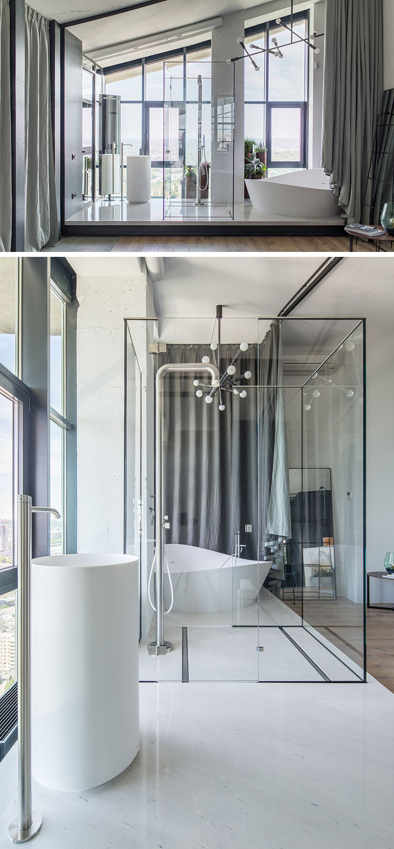 This modern ensuite bathroom, which is raised up onto a platform, makes the most of the view with floor to ceiling windows, and a glass shower surround. When some privacy is needed, there's also a curtain that can be pulled across. #EnsuiteBathroom #ModernBathroom #GlassShowerEnclosure