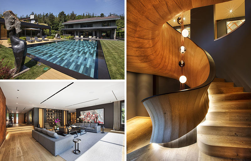 This modern house has a large swimming pool, a poolhouse, warm interior design, and a sculptural wood spiral staircase. #ModernHouse #ModernInteriorDesign #SpiralStairs