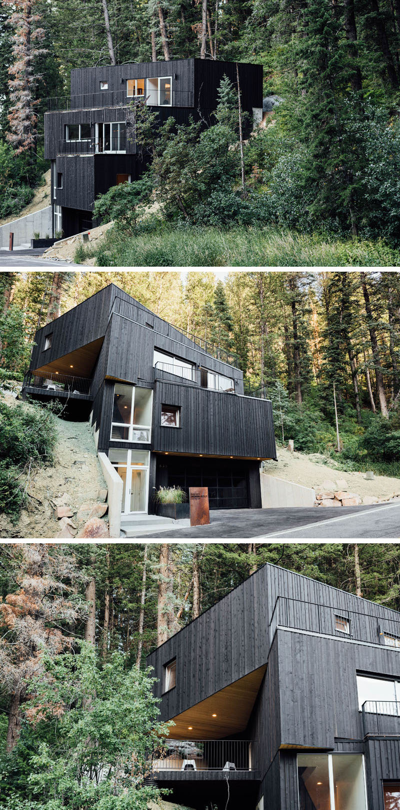 Chris Price of Park City Design Build, has recently completed the TreeHaus, a modern house in Summit Park, Utah, that sits on a steep and wooded site, and is clad in blackened cedar siding. #ModernHouse #BlackSiding #BlackHouse #WoodSiding #Architecture
