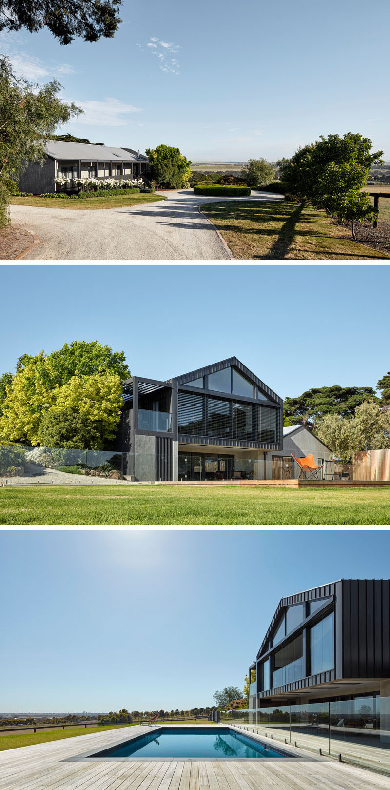 Black colorbond cladding was used for this new and modern house addition to create a striking contrast to the existing structure, which was rendered in a grey concrete. #ModernArchitecture #ModernHouse #SwimmingPool