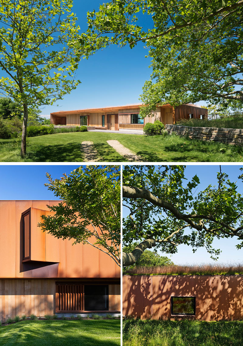 This modern house features a palette of concrete, cedar, reclaimed ipe wood, and Corten steel, that soften the overall appearance of the home. #ModernHouse #Architecture #HouseDesign