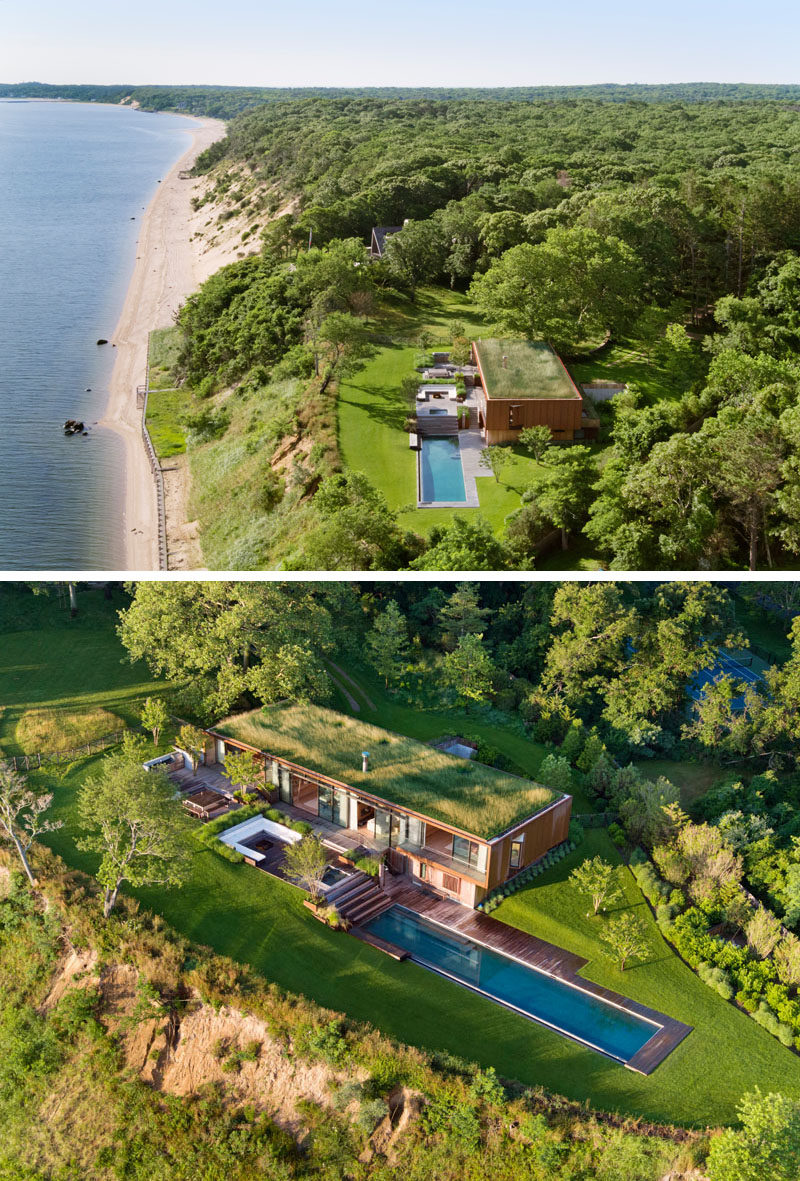 A green roof on this modern house has been planted with native meadow grasses to somewhat camouflage the house, and to minimize the project's impact on the watershed. #GreenRoof #ModernHouse #SwimmingPool #Architecture