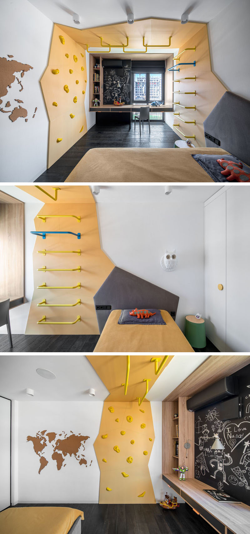 This modern kids bedroom has a custom climbing feature that wraps from one side of the room to the other, and separates the sleeping area from a desk by the window. #ModernKidsBedroom #ClimbingWall #KidsRoom #BedroomDesign