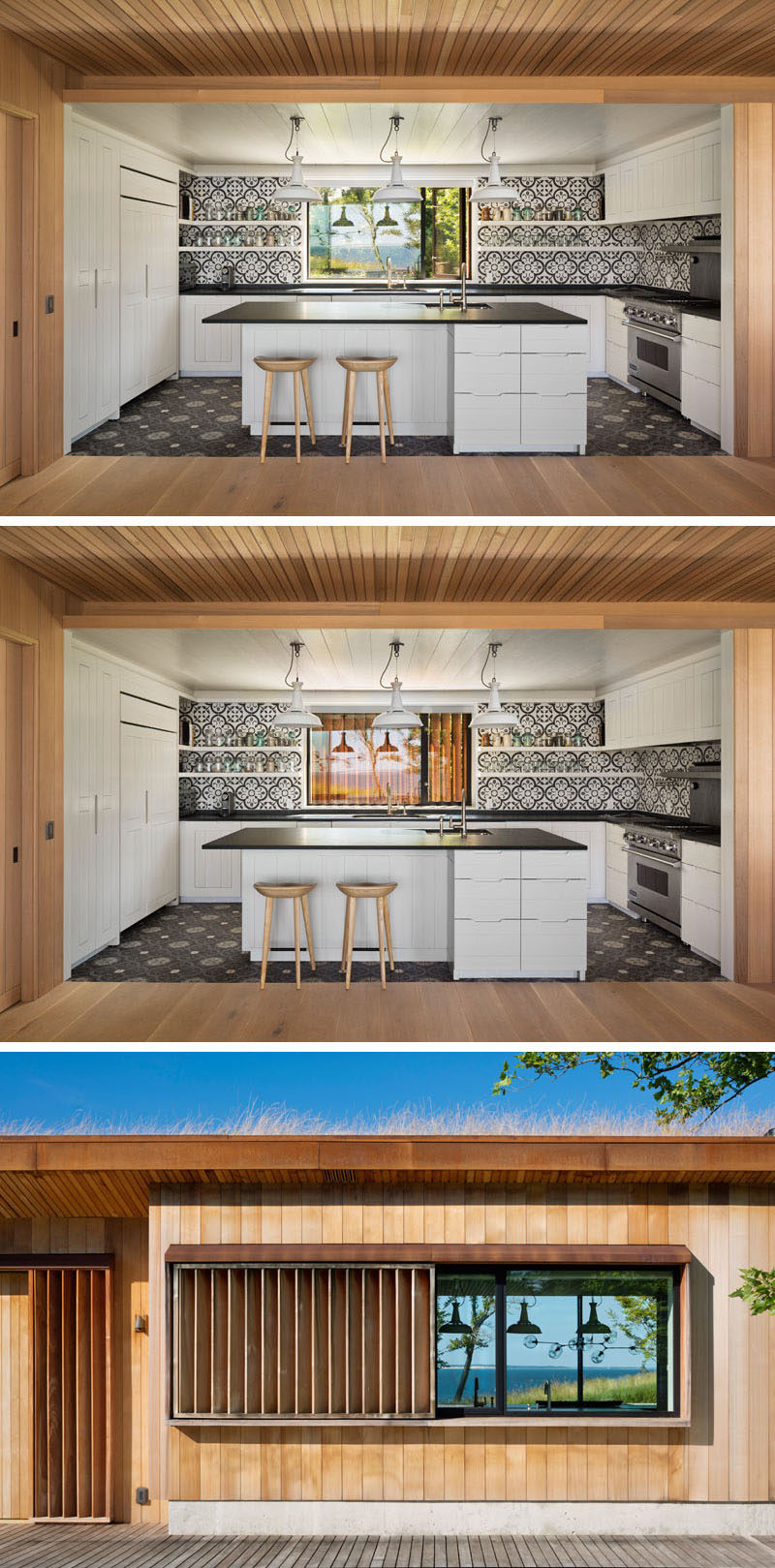 In this modern kitchen black and white patterned tiles line the wall and complement the white cabinets and black countertops. An exterior shutter can be closed across the window, hiding the kitchen from view from the front of the house. #Kitchen #BlackAndWhiteKitchen #Shutter