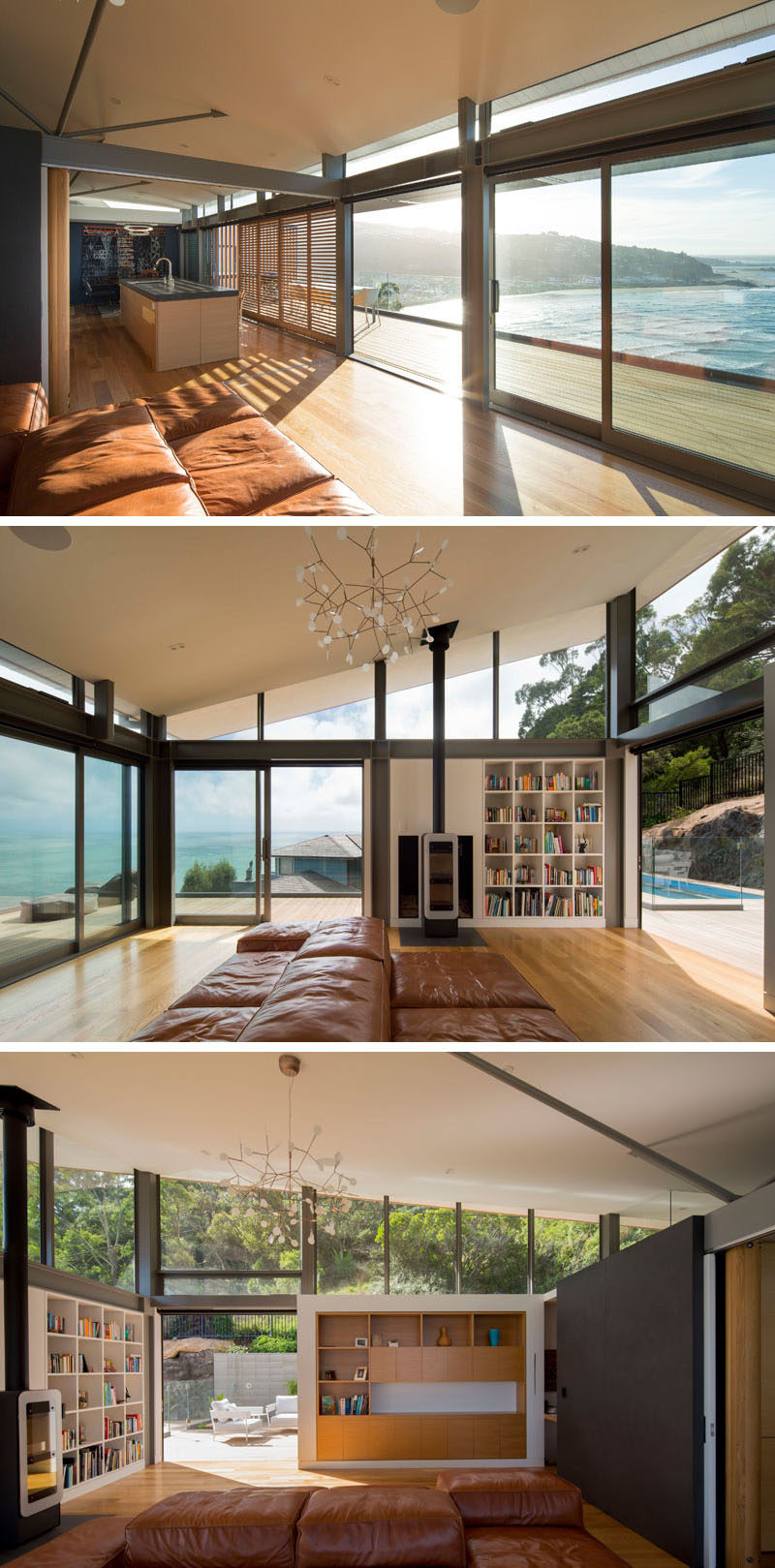 This modern living room has two sides, one that looks out towards the water, and the other that enjoys the fireplace and views of the rear deck and swimming pool. #LivingRoom #Fireplace #Shelving #Windows