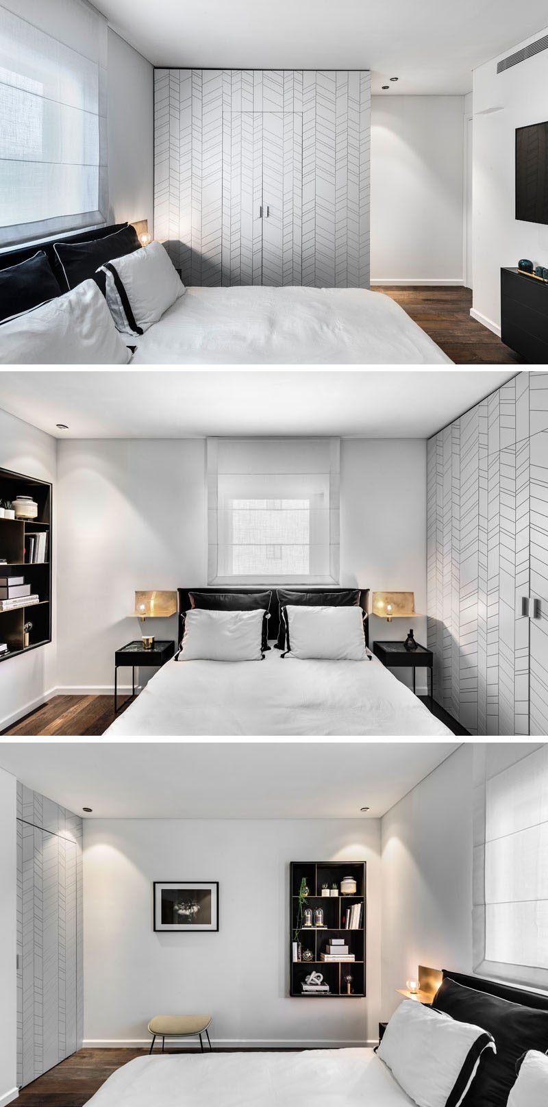 In this modern master bedroom, furnishings have been kept minimal. A walk-in closet is hidden within a decorative accent wall, while on the opposite wall, a bookshelf becomes a place to display personal items. A door off to the side of the bookshelf leads to the ensuite bathroom. #MasterBedroom #BedroomDesign
