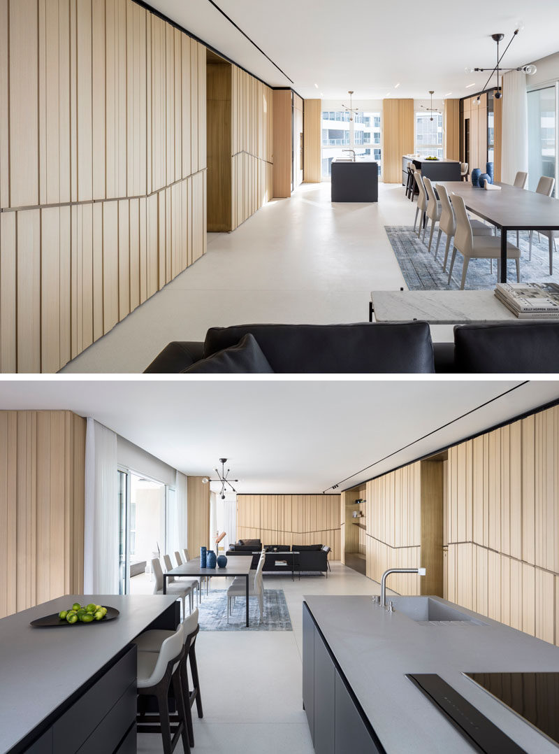 This modern apartment with an open floor plan, features Terrazzo flooring throughout. #Flooring #ModernFloor #LightColoredFloor