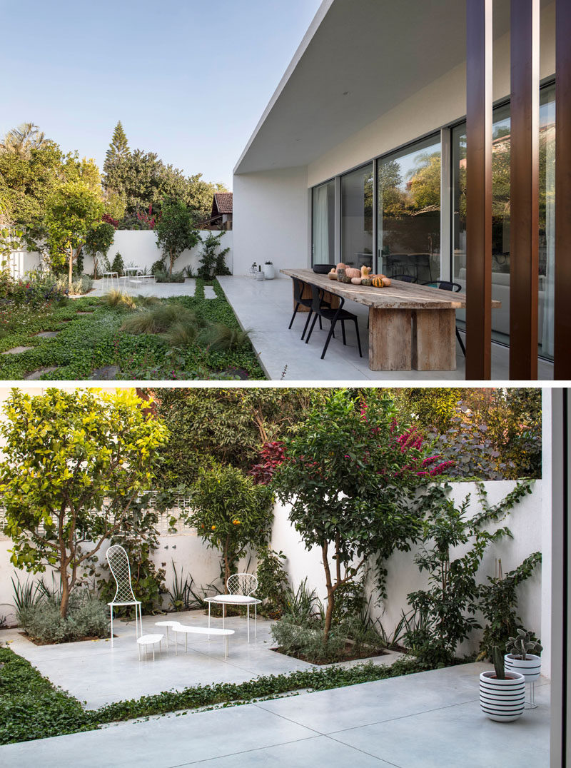 This modern house has a partially covered patio and an additional smaller patio for relaxing in the sun. #OutdoorSpace #Landscaping #Patio #Garden
