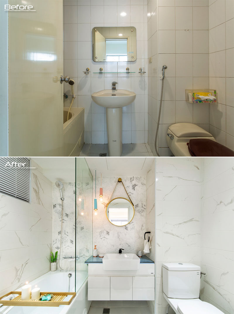 BEFORE & AFTER - In this ensuite bathroom, new tiles replaced the old, a pedestal sink and square mirror was replaced with a vanity that has storage and a round hanging mirror. A partial glass screen was also added to separate the bath/shower from vanity, keeping the rest of the bathroom dry. #ModernBathroom #BathroomRenovation
