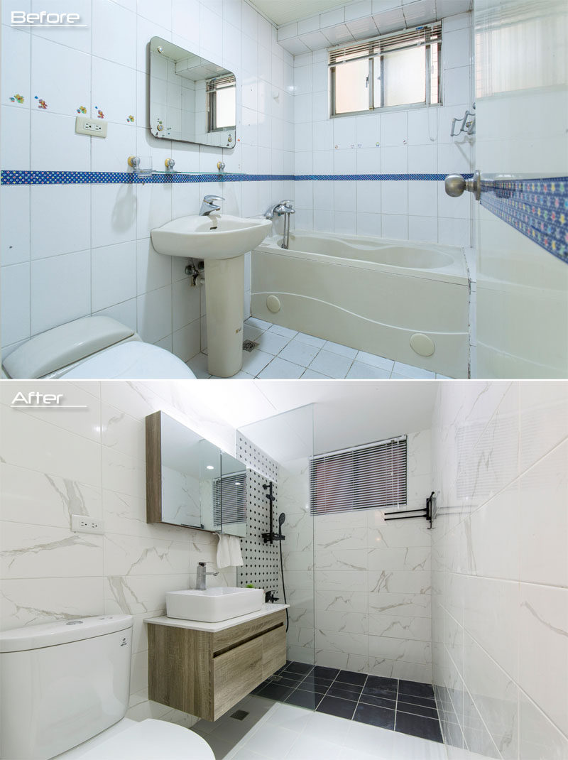 BEFORE & AFTER - In a guest bathroom, a built-in bathtub has been removed and replaced by a large walk-in shower with dark tiles on the floor and decorative black and white tiles on the wall. A new washbasin now rests on a walnut cabinet, and marble tiles cover the walls. #BathroomRenovation #BathroomDesign #ModernBathroom