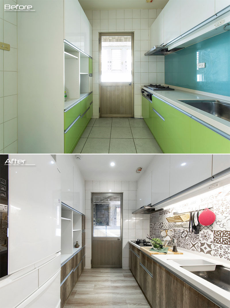 BEFORE & AFTER - This 1980s kitchen has had the lime green sections of the cabinets replaced with wood fronts, and the blue glass backsplash has been replaced with decorative tiles. #KitchenRenovation #KitchenUpdate #ModernKitchen