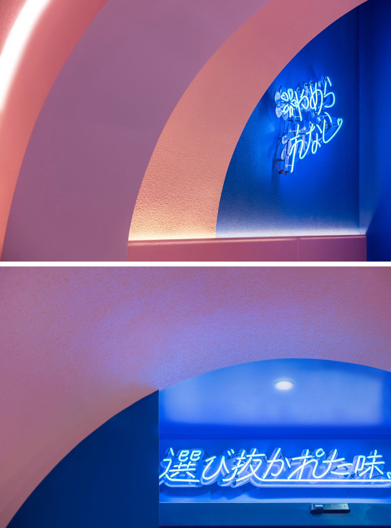 In this modern ramen restaurant, neon signs have been used to create focal points on the walls, and to brighten darker spaces. #NeonSigns #Restaurant