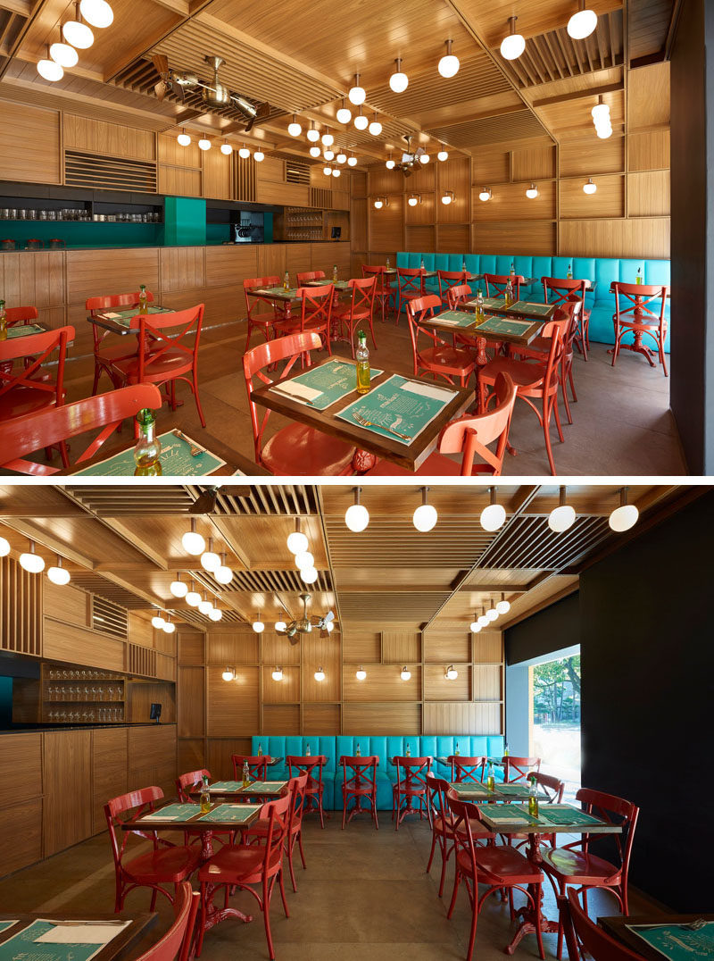 Inside this modern restaurant, the walls are covered in 'wooden boxes', each with different sizes and permeability, creating a reference to traditional public markets. #RestaurantDesign #ModernRestaurant