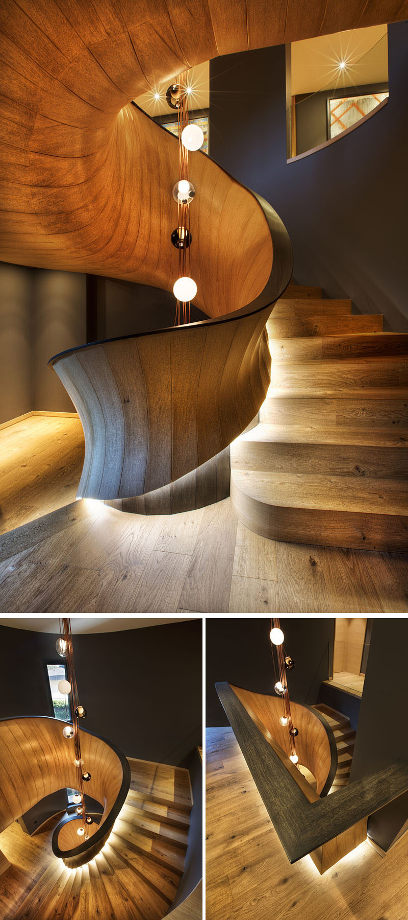 A sculptural oak staircase has been created to link the three levels of this modern house. The wood stairs have a natural oiled finish, which adds warmth to the interior, while the handrail has been varnished in black. #ModernStairs #SculpturalStairs #SpiralStaircase #ModernWoodStairs