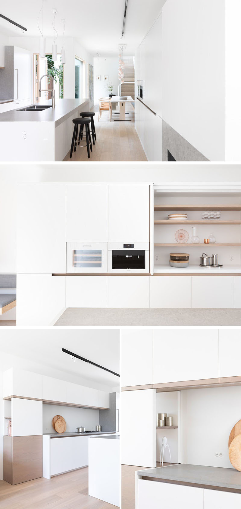 This modern kitchen has white lacquered cabinetry with oak finger pulls, Corian Quartz counters and gables, as well as backsplash and kicks. There's also integrated wine and coffee appliances in white glass to match, and open shelving behind doors that tuck away. #WhiteKitchen #KitchenDesign #ModernKitchen