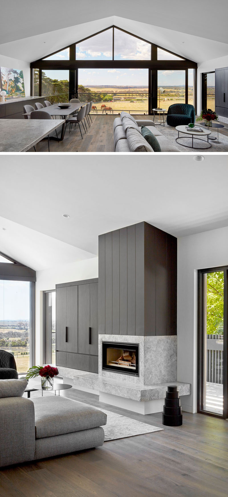 This modern open plan interior has a gabled ceiling and a wall full of windows with a large sliding door that can opened to let the fresh air in. The couch in the living room is focused on the fireplace, which adds warmth on a cool night. #Windows #OpenPlanInterior #ModernInterior #Fireplace
