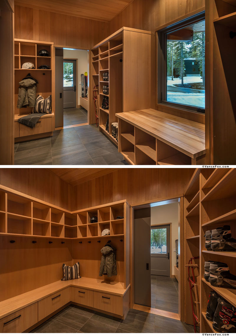 As this modern mountain home is in a winter/summer resort area, the home has a ski room and a storage space for mountain bikes. #StorageRoom #WetRoom #MudRoom