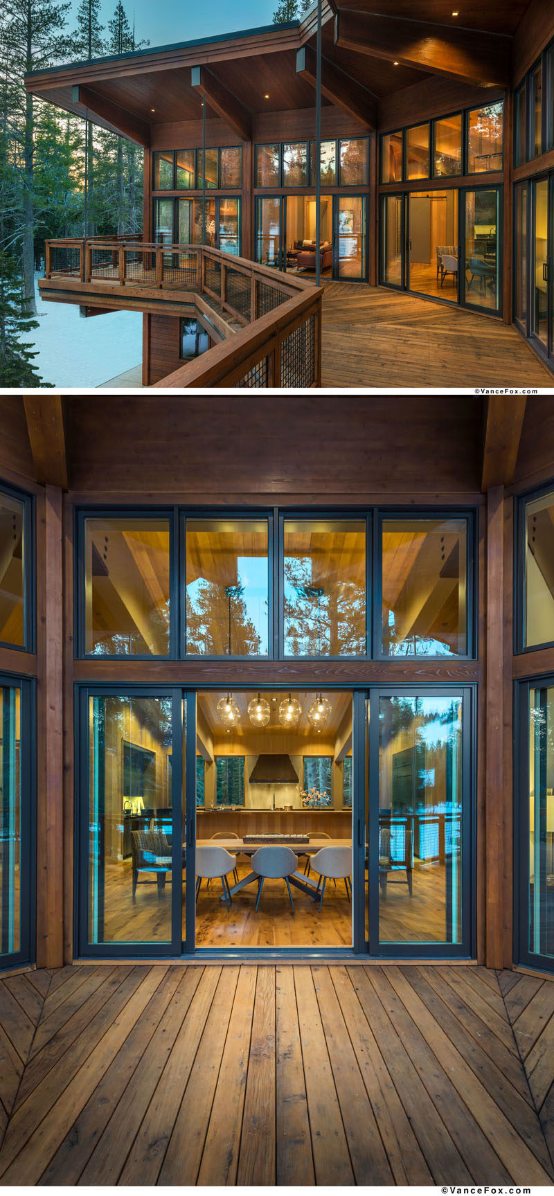 This modern mountain house has an outdoor deck running the length of the living and dining areas. #Balcony #MountainHome #Deck