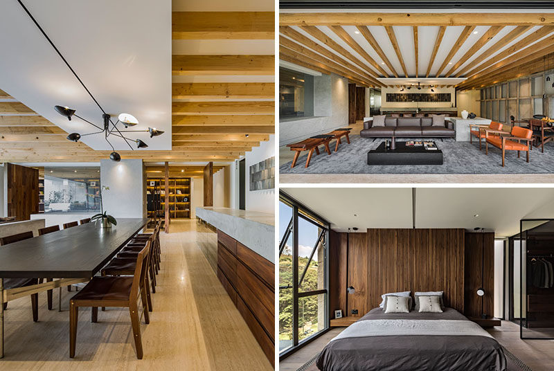 Taller David Dana Arquitectura (TDDA) have designed a modern apartment in Mexico City, Mexico, that makes use of wood and concrete throughout the interior. #ModernApartment #ModernInteriorDesign #ApartmentInterior