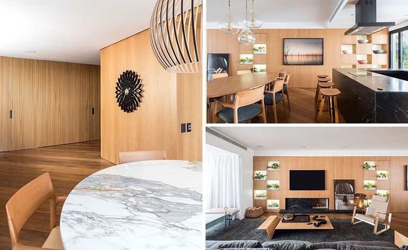 David Ito Arquitetura have recently completed the interiors of an apartment in Sao Paulo, Brazil, for amiddle-aged couple, who wanted a space that would take advantage of the views, the natural light, and the terrace. #ModernApartment #WoodInterior #InteriorDesign