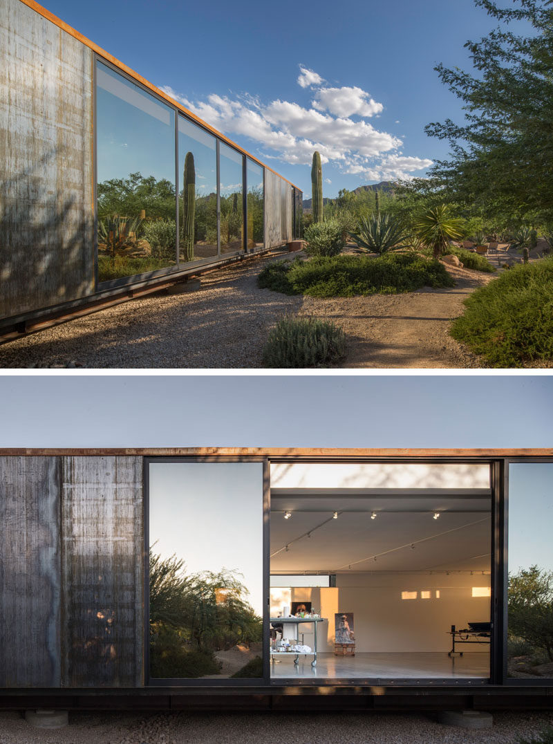 Chen + Suchart Studio have designed a modern art studio that features an exterior of weathering steel panels and a bright white interior. #ArtStudio #ArtistStudio #Architecture #ModernArchitecture