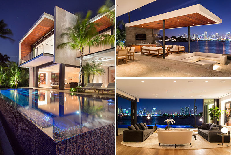 Choeff Levy Fischman have designed atwo-story Miami Beach waterfront residence that focuses onindoor-outdoor living. #ModernHouse #ModernArchitecture