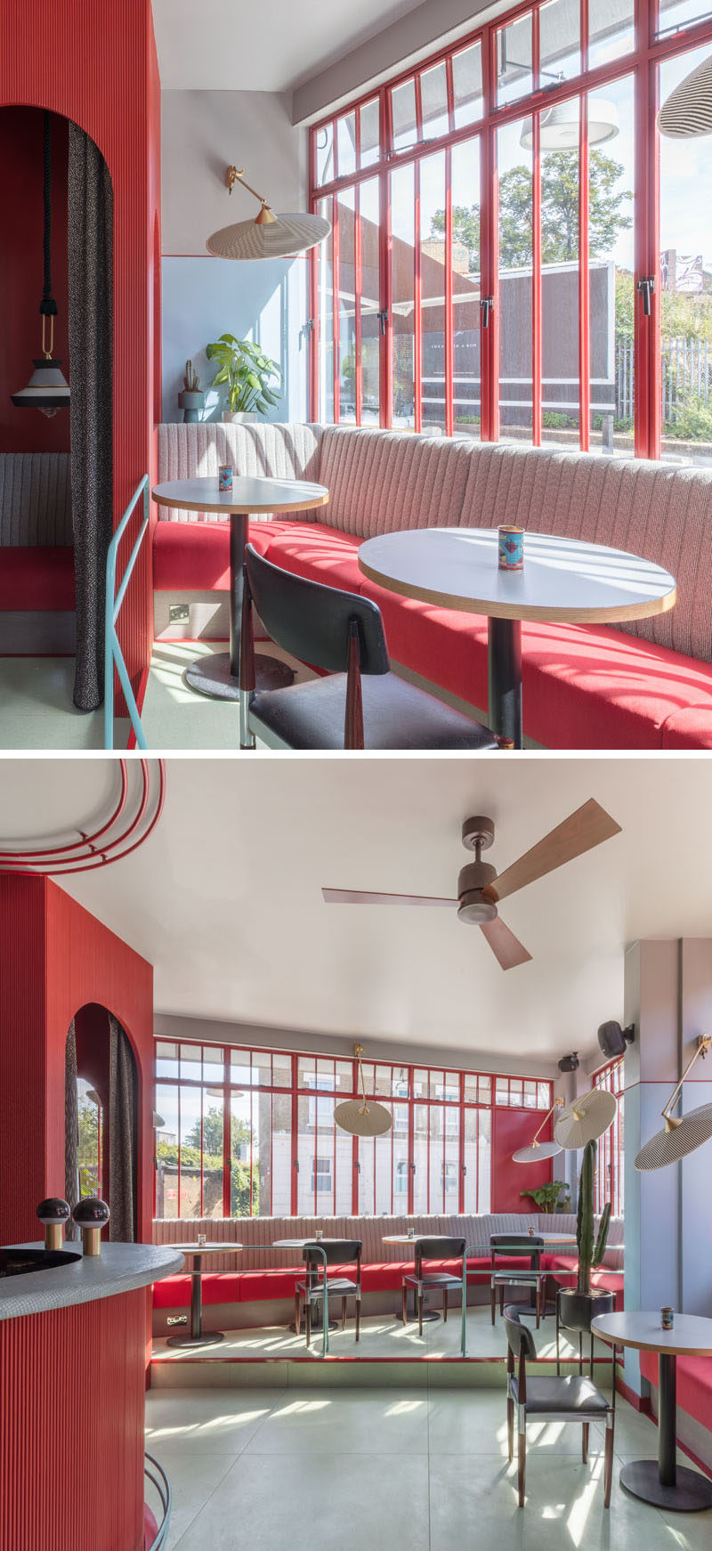 In this restaurant, built-in banquette seating lines the wall along the windows, while bold pops of color complement the red window frames. #BanquetteSeating #Windows #RestaurantDesign