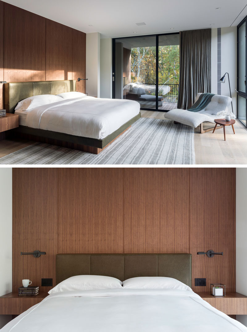 In this modern master bedroom, a wood accent wall becomes the backdrop for the bed, while a sliding glass door opens to a private balcony. #MasterBedroom #BedroomDesign