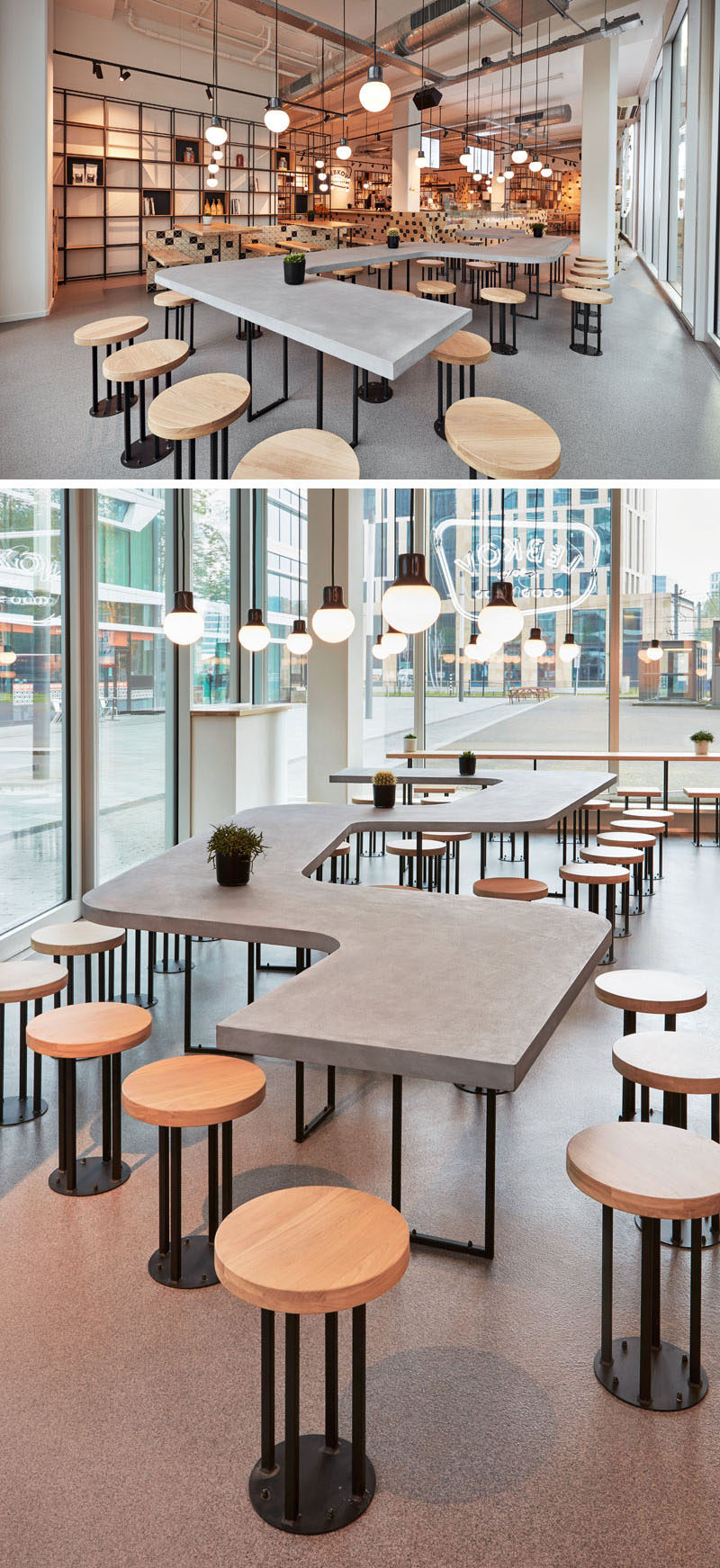 This modern cafe features a a snake-like, concrete shared table along the facade. #CafeDesign #TableDesign #CafeTable #CoffeeShop #CommunalTable