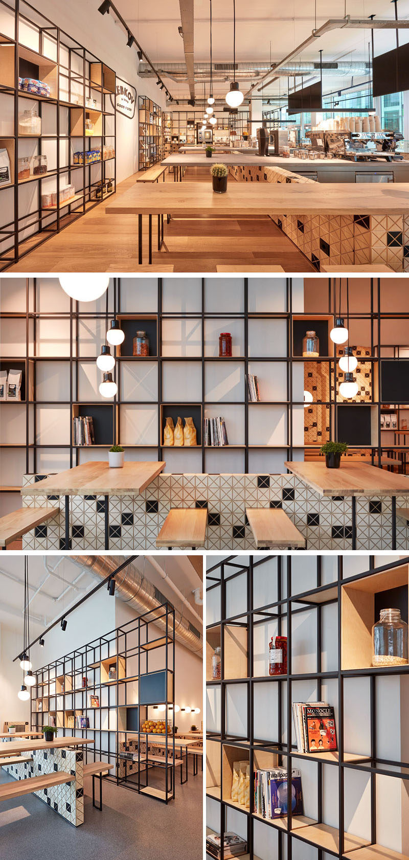 This modern cafe has open storage made from a modular steel structure, where fresh products and coffee beans are displayed. #Cafe #CoffeeShop #OpenShelving #ShevingDesign #SteelShelving