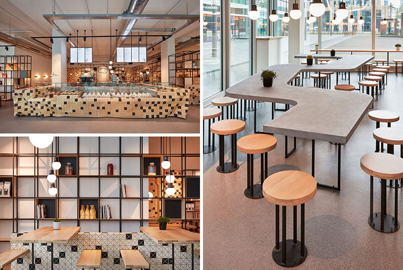 Studio Akkerhuis has recently completed the design of the Lebkov & Sons Café in Amsterdam, that features the use of Wood-Skin, steel and concrete. #CafeDesign #Concrete #CoffeeShop