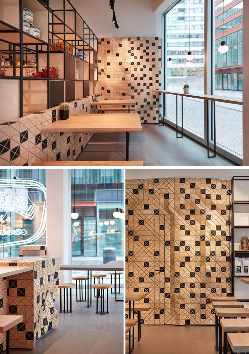 Wood-skin has also been applied throughout this coffee shop, creating visual interest that can be seen by people walking past. #WoodSkin #CafeDesign #CoffeeShop #AccentWall