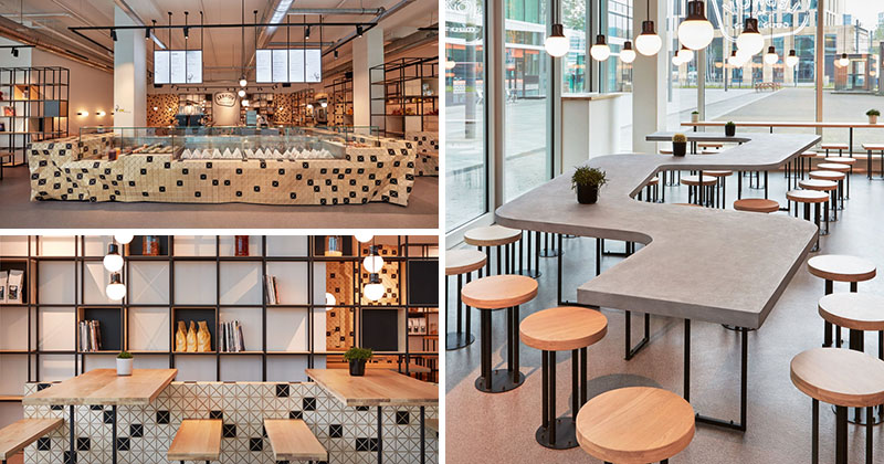 The Lebkov & Sons Café In Amsterdam Is Filled With A Mix Of Concrete And Wood Elements