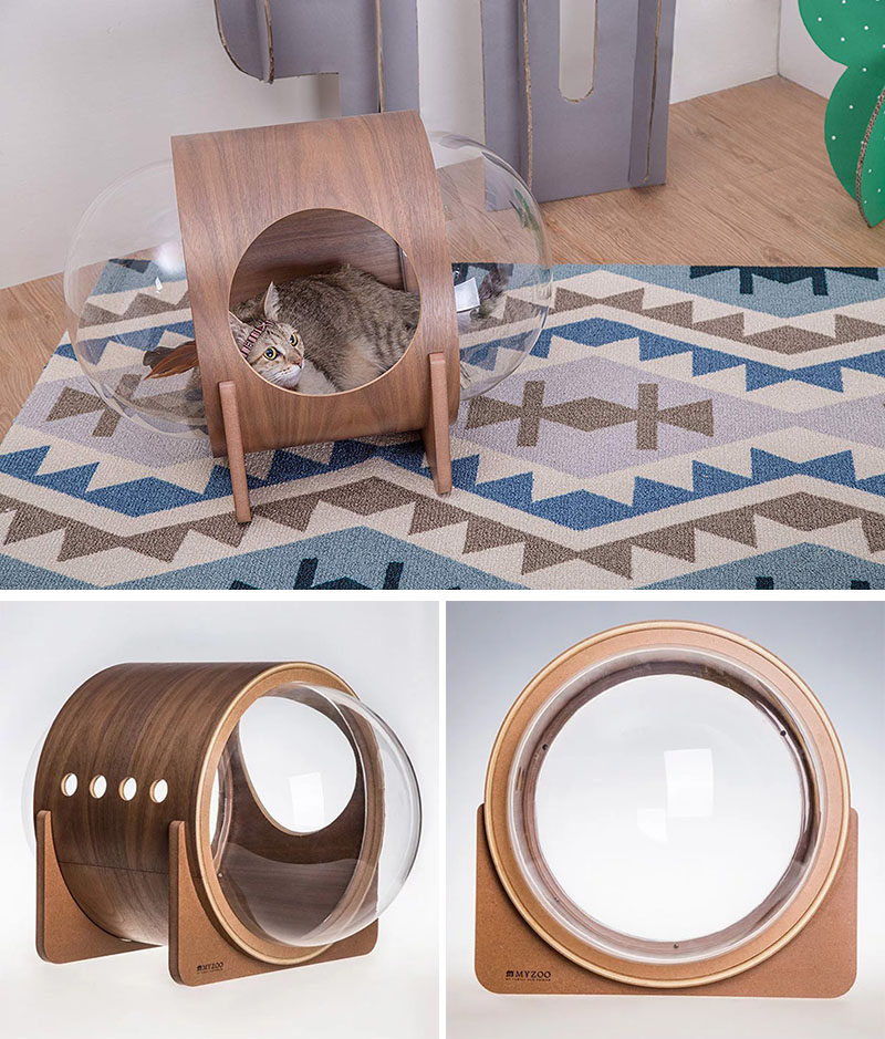 MYZOO have created the Spaceship Series, a line of fun and modern cat beds, plus one can be wall-mounted. #CatBed #ModernCatBed #WallMountedCatBed