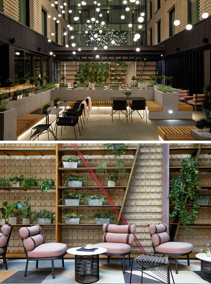 This modern hotel incorporates indoor and outdoor areas with private 'pockets' of space where guests can relax, like in the atrium. #Atrium #HotelDesign #Interiors