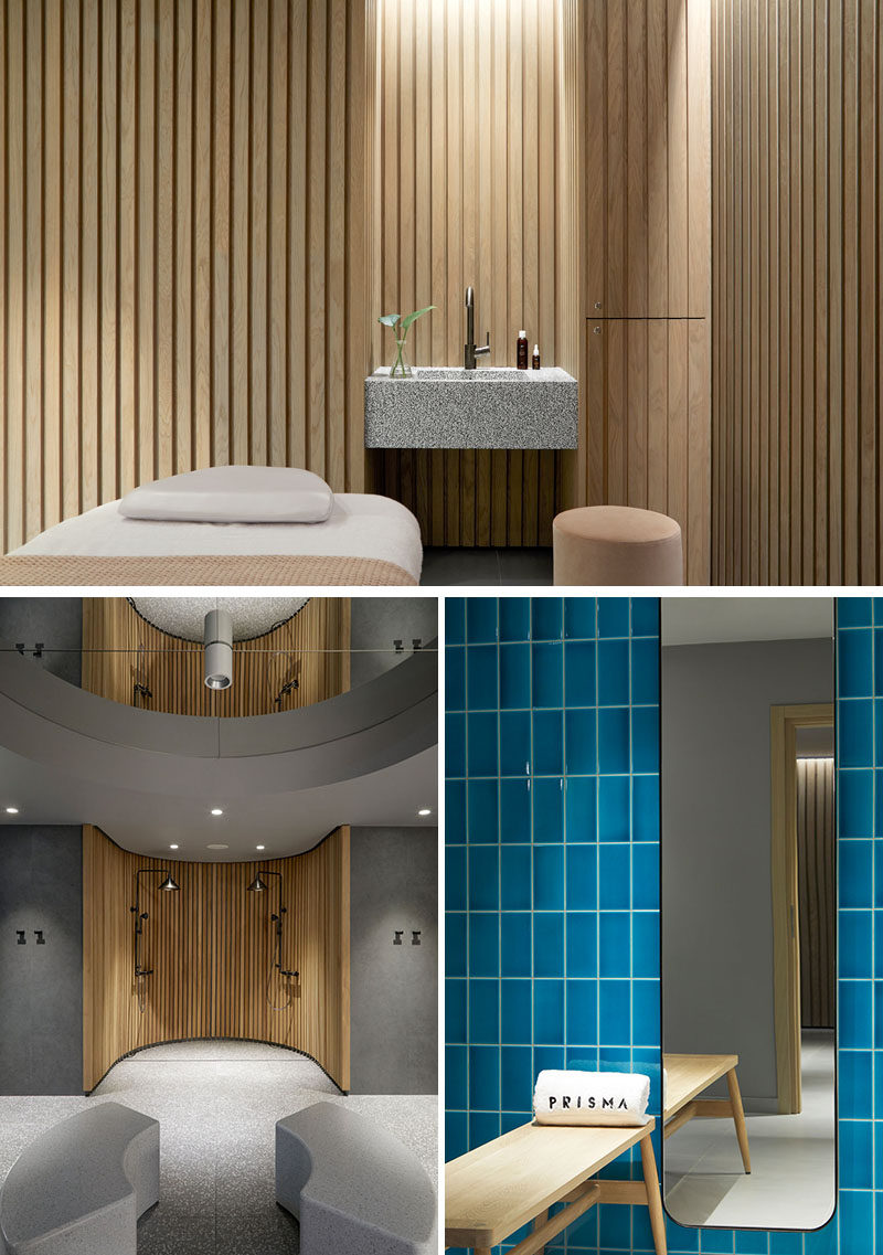 This modern hotel spa uses wood to create a relaxing environment, while blue tile adds a pop of color in the bathrooms. #HotelSpa