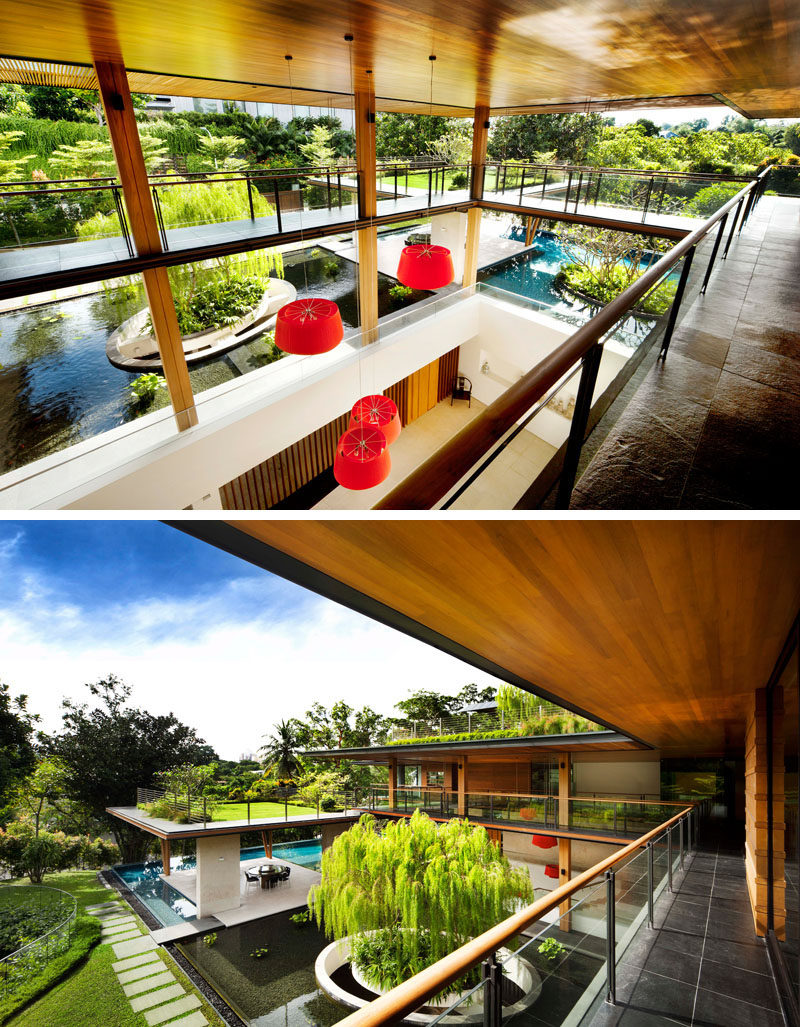Inside this modern house, open walkways and balconies connect the various areas of the house, #Balcony #OpenWalkway #Architecture