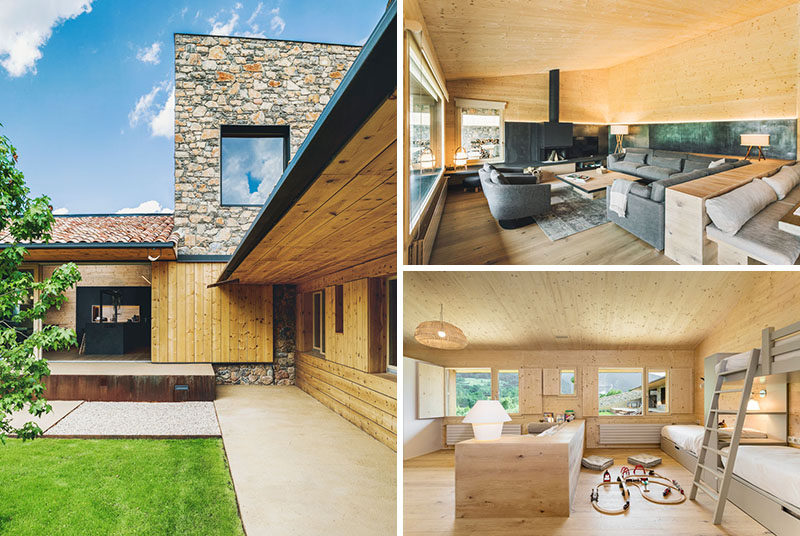 Dom Arquitectura have designed a new and contemporary family house that's situated in La Cerdanya, an old settlement east of the Pyrenees, divided between France and Spain. #ModernHouse #WoodInterior