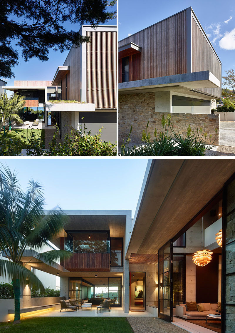 Inspired by 'Brazilian Modern', this house features a combination of materials such as concrete, stone, timber, and steel. #ModernHouse #ModernArchitecture