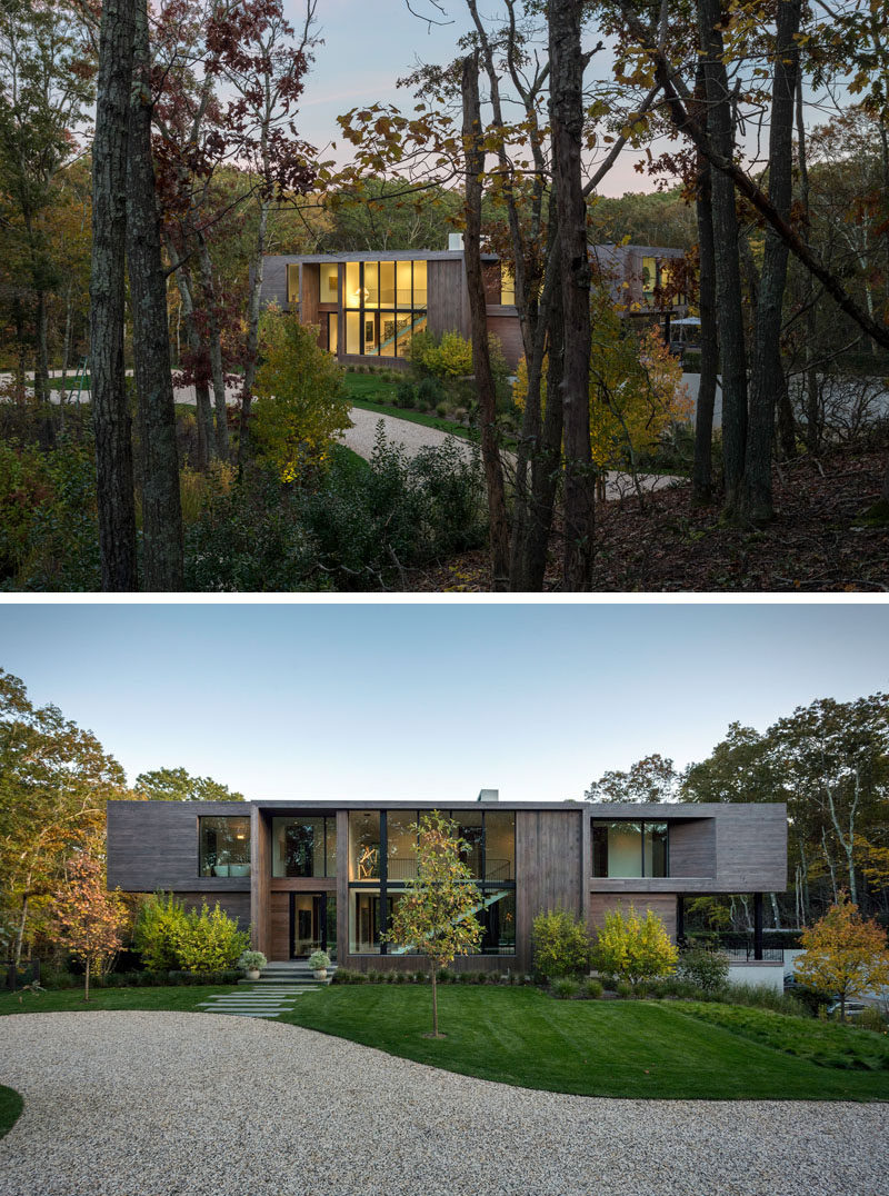 Blaze Makoid Architecture have designed a new house in Southampton, New York, for a couple who were attracted to the pristine surroundings, and envisioned the home as a secret enclave in the trees for themselves and their friends. #ModernHouse #ModernArchitecture #HouseDesign #Landscaping