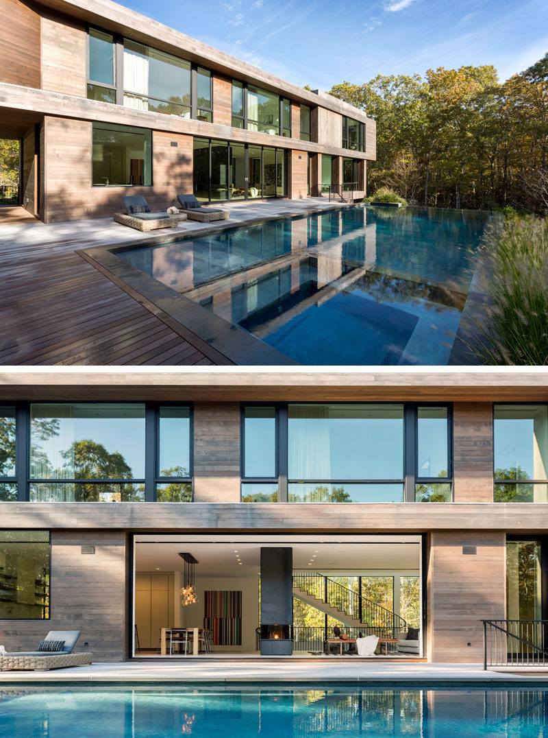 A 22.5 foot sliding door opens the interior of this modern house to the deck and swimming pool. #ModernHouse #SwimmingPool #SlidingDoors