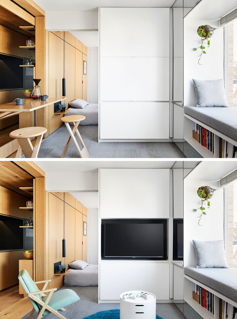 When not in use, the TV in this modern and small apartment, is concealed behind cabinet doors. #HiddenTV #LivingRoom