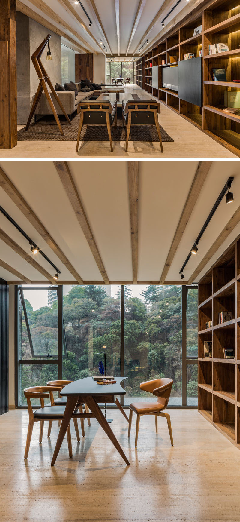 In this modern apartment, a wall of shelving with hidden lighting runs from the living room, right through to the home office, with only a door way separating the two. In the home office, large floor-to-ceiling windows provide tree views. #Shelving #LivingRoom #HomeOffice