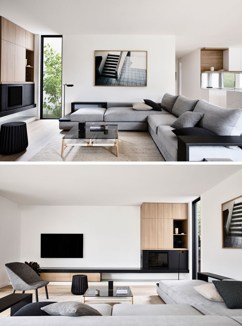 The interiors of this modern house has plenty of natural light that illuminates a Scandinavian aesthetic. #ModernLivingRoom #LivingRoomDesign #InteriorDesign