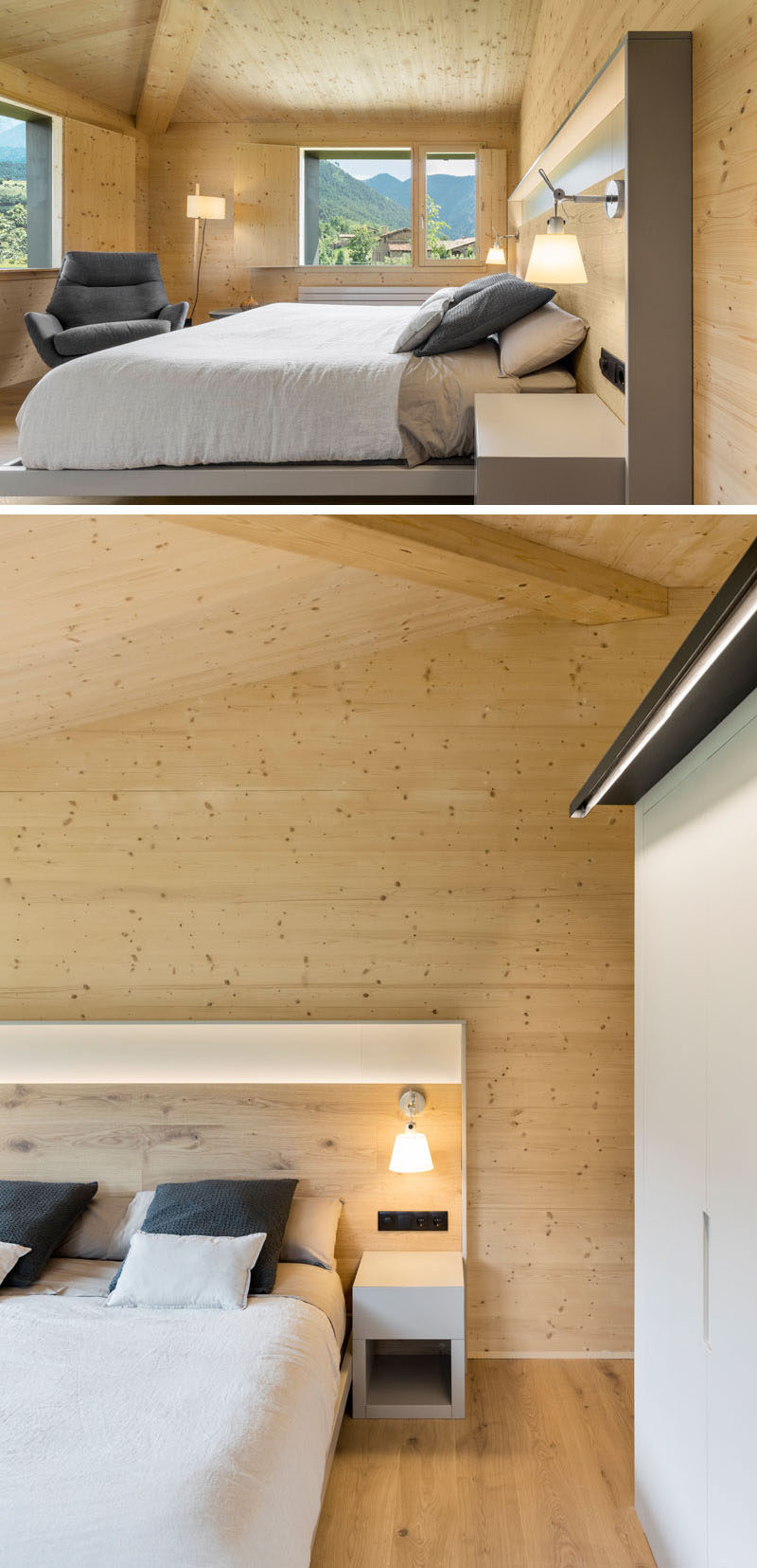This modern master bedroom has high ceilings and is surrounded by wood floors and walls. #MasterBedroom #BedroomDesign